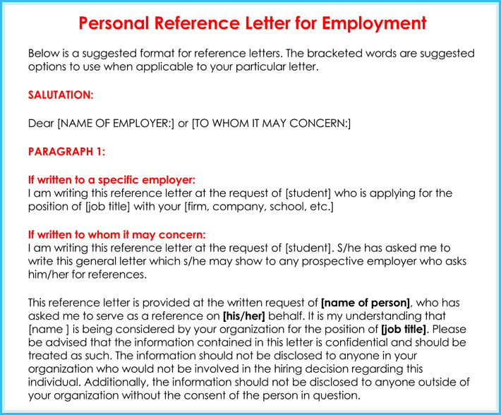 examples of reference letters for work