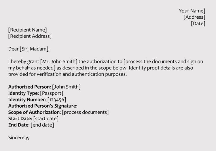 Sample Authorization Letters to Process Documents on Your Behalf