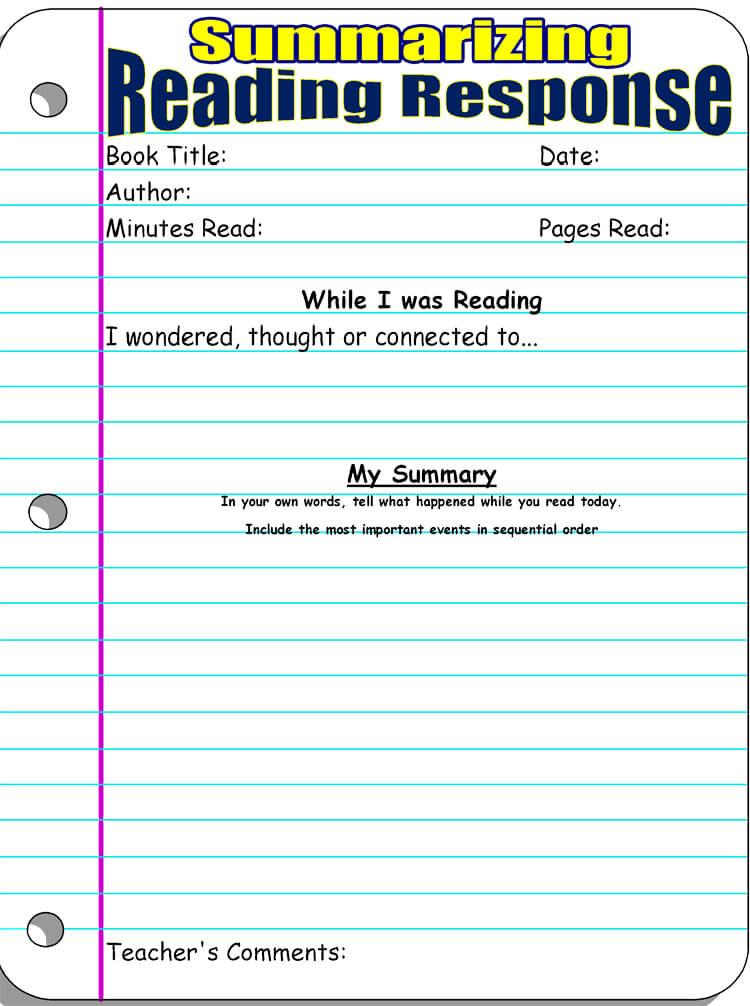 14 Free Reading Response Worksheet Templates (Word. PDF)