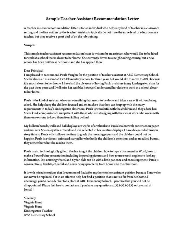 Recommendation Letter for a Teacher (26+ Sample Letters)