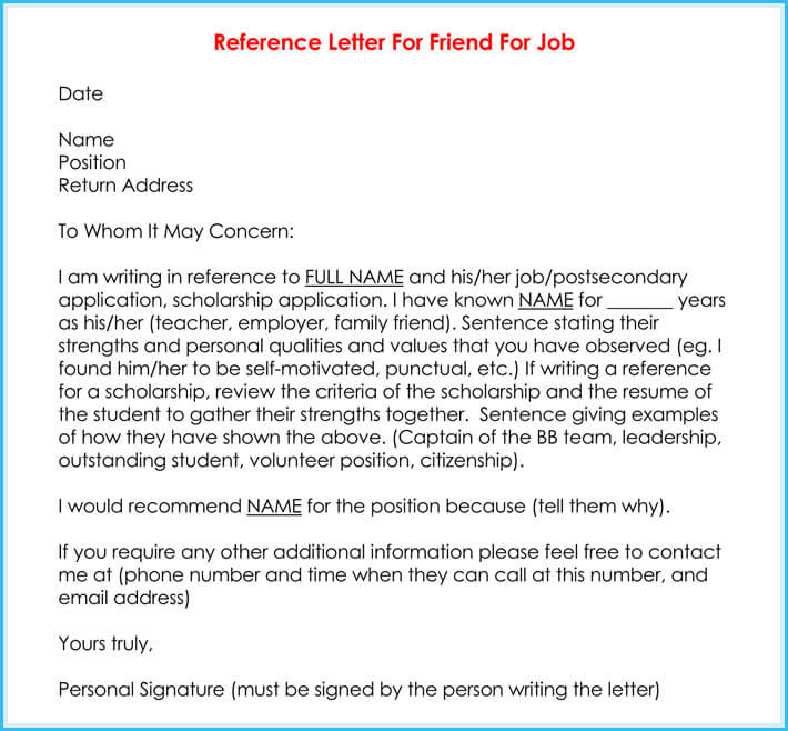 job recommendation letter sample for a friend