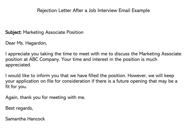 Candidate Rejection Email After an Interview (Free Templates)