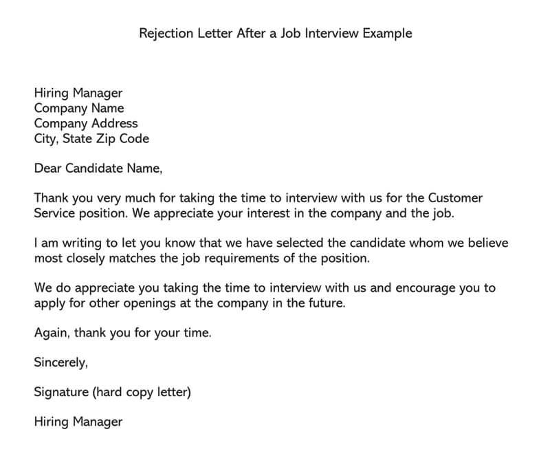 letter after job rejection