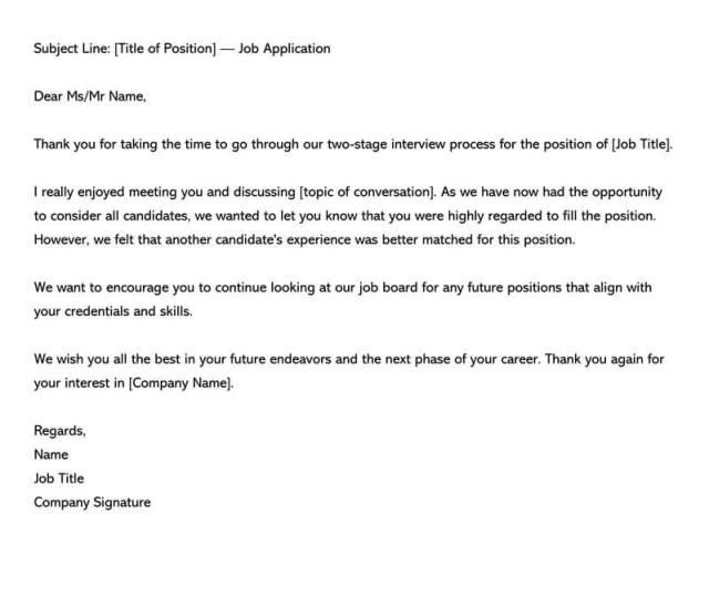 Post Interview Rejection Letter E