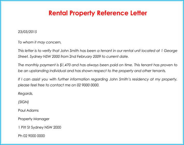 rental letter sample
