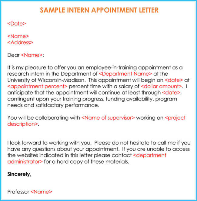 Internship Offer & Appointment Letter Template 7