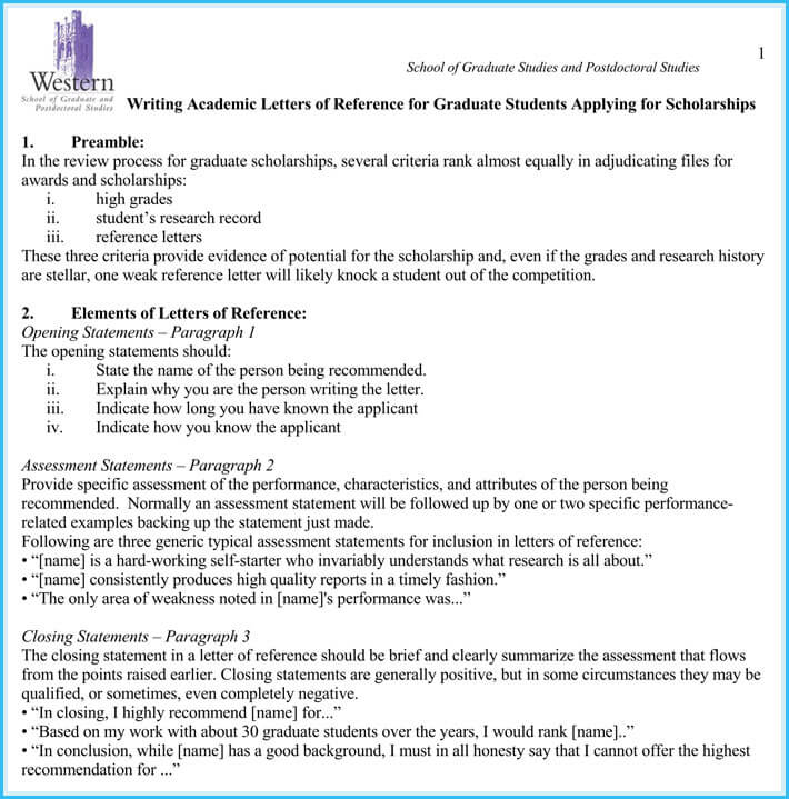 Scholarship Reference and Recommendation Letters  Best
