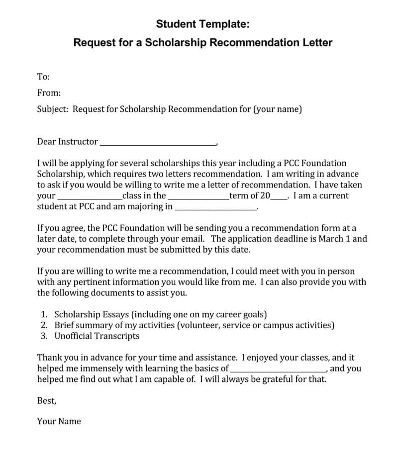 letter of recommendation college student