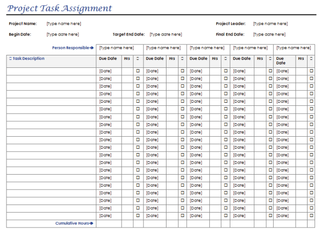 Task Assignment Template For Multiple Projects