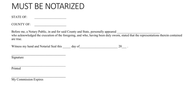 sample notarized statement letter