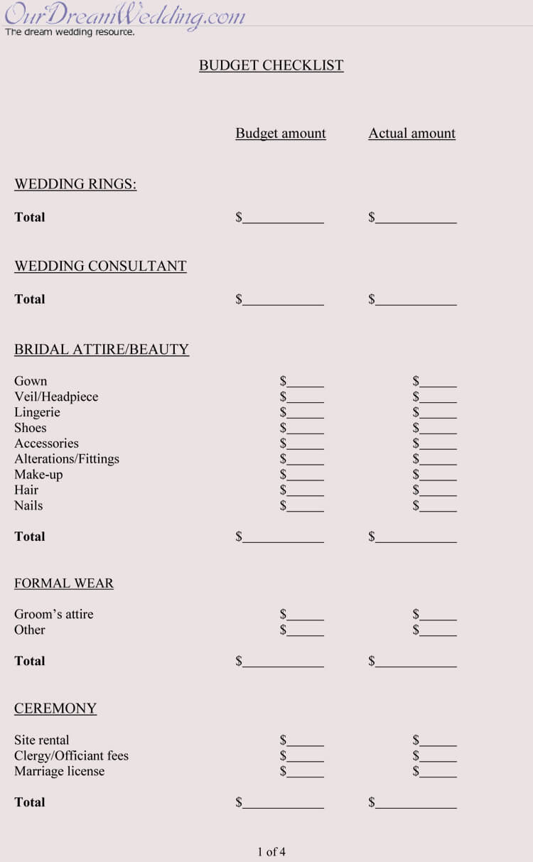 Free Wedding Budget Worksheets (14 Templates for Excel)