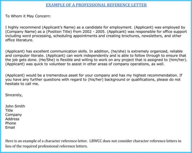 Writing A Work Reference Letter 7 Best