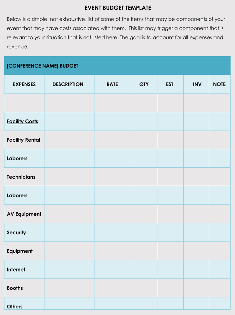 sample of a budget sheet