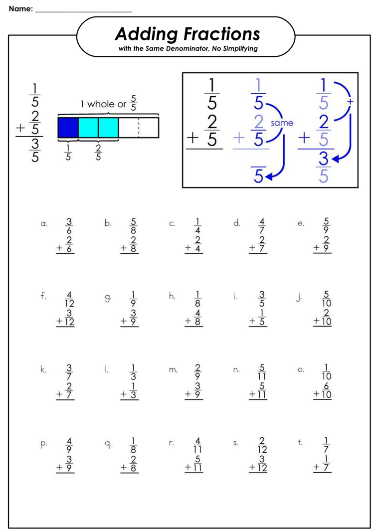 medium resolution of Printable Fraction Worksheets for Practice (Grade 3-6) - Free Downloads