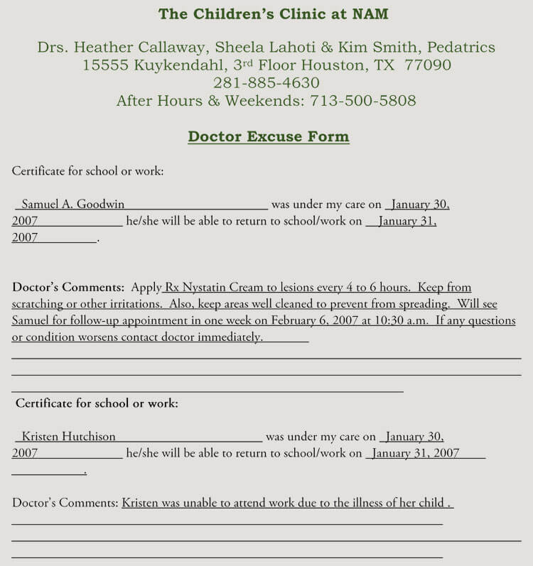 Creating Fake Doctor's Note Excuse Slip 12 Templates