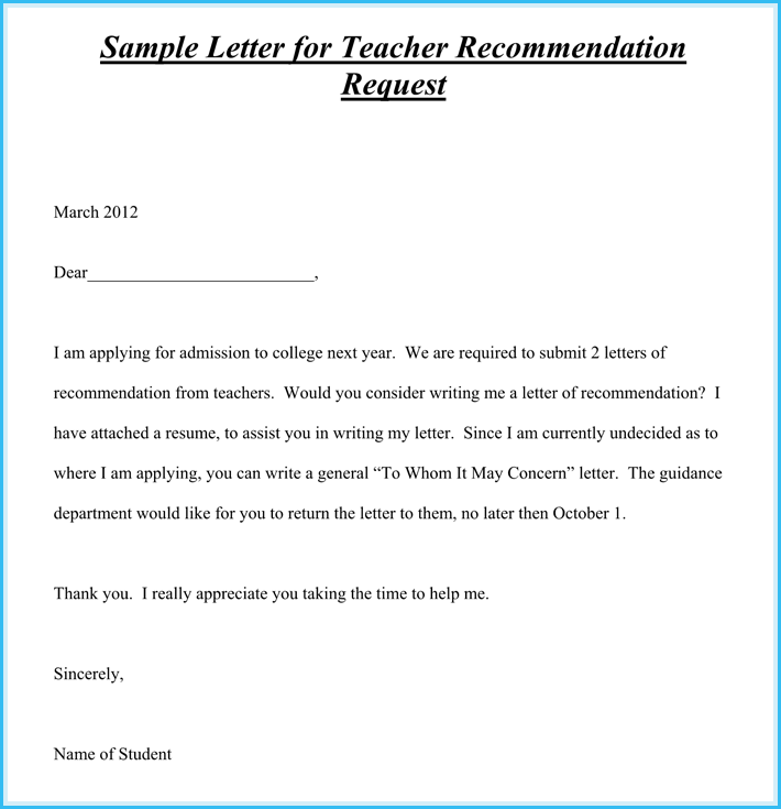 recommendation letter for teacher reference template