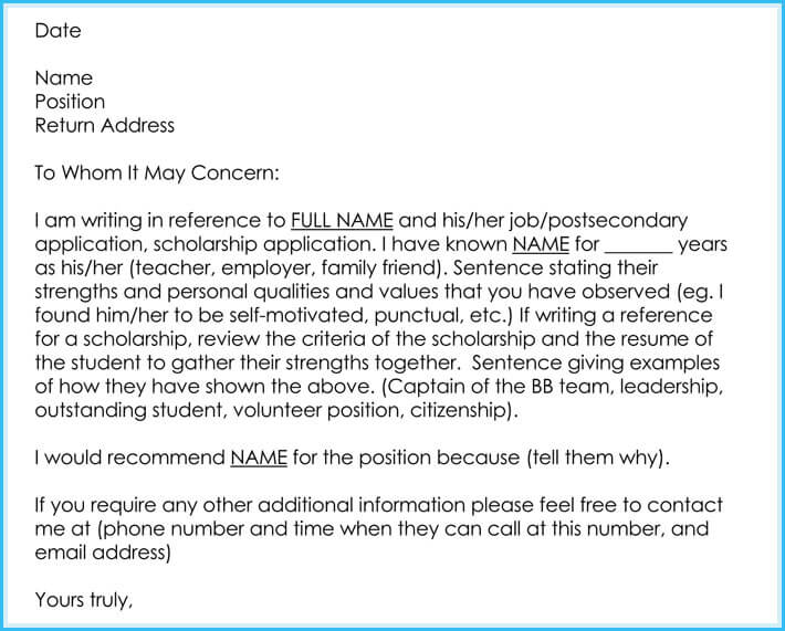 free letter of recommendation for employment template