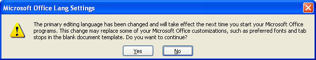 Change Langauge settings in Ms Office
