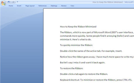 Microsoft Office 2007 Ribbon - Large