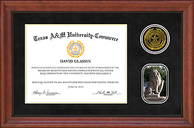 Texas AM University  Commerce Black Suede Diploma Frame