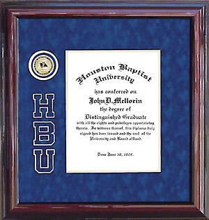 Houston Baptist Designer Logo Diploma Frame Wordyisms