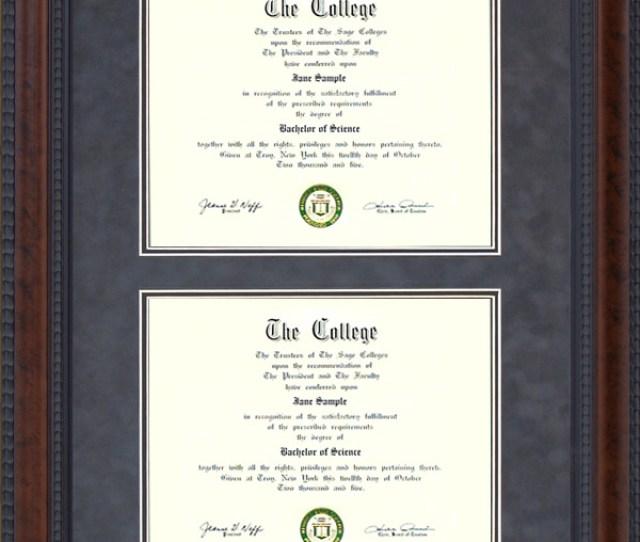 Burl Hardwood Double Diploma Frame
