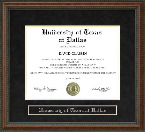 University of Texas at Dallas UTD Diploma Frame Wordyisms