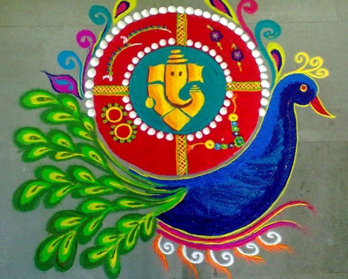 Diwali-peacock-and-Ganesh-rangoli