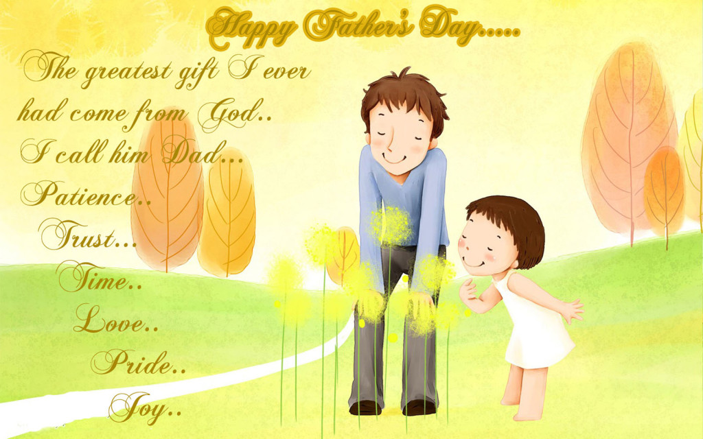 Fathers day lovely qoutes with cartoon image
