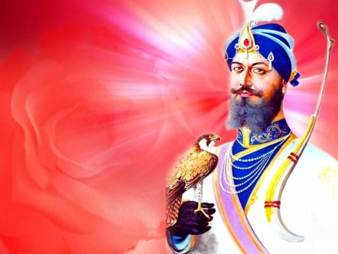 Spiritual master Guru Gobind Singh holding egal on his hand