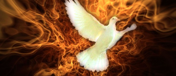 Lovely Holy spirit with burning background