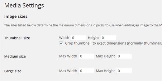 Setting the default image sizes to zero in WordPress