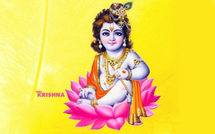 Baby Krishna sitting in a lotus