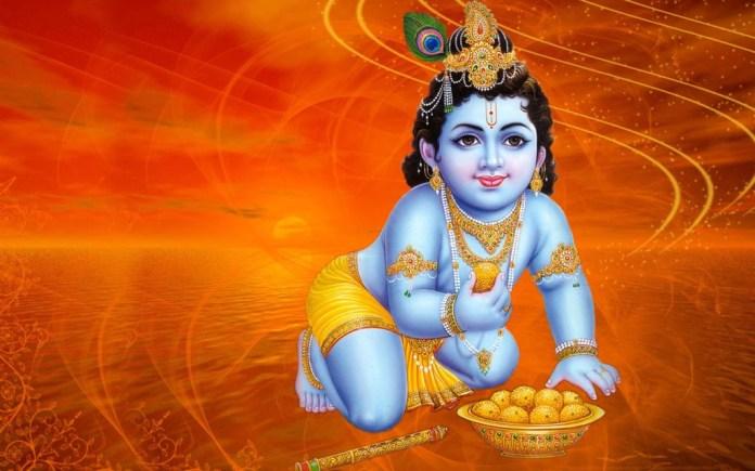 Lord Krishna eating sweets