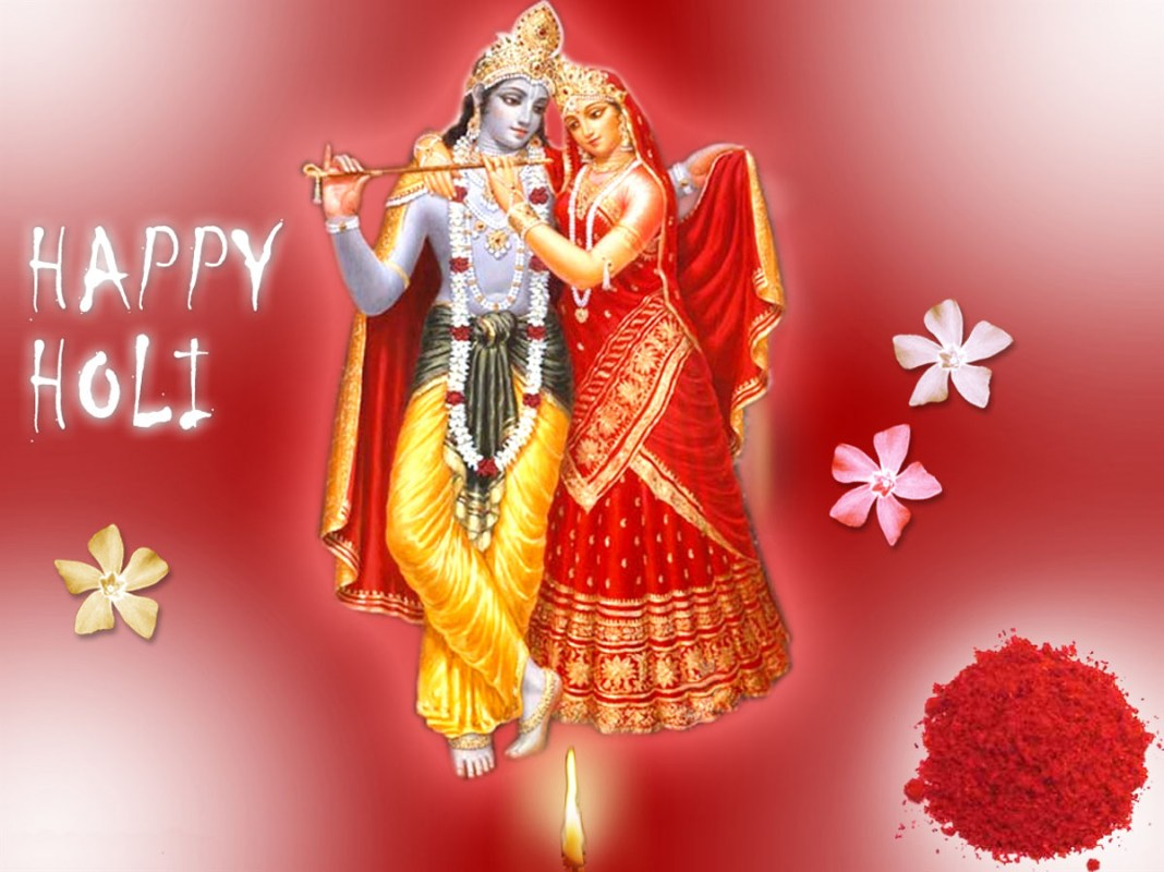 Awesome Radha Krishna holi greating with lovely red background