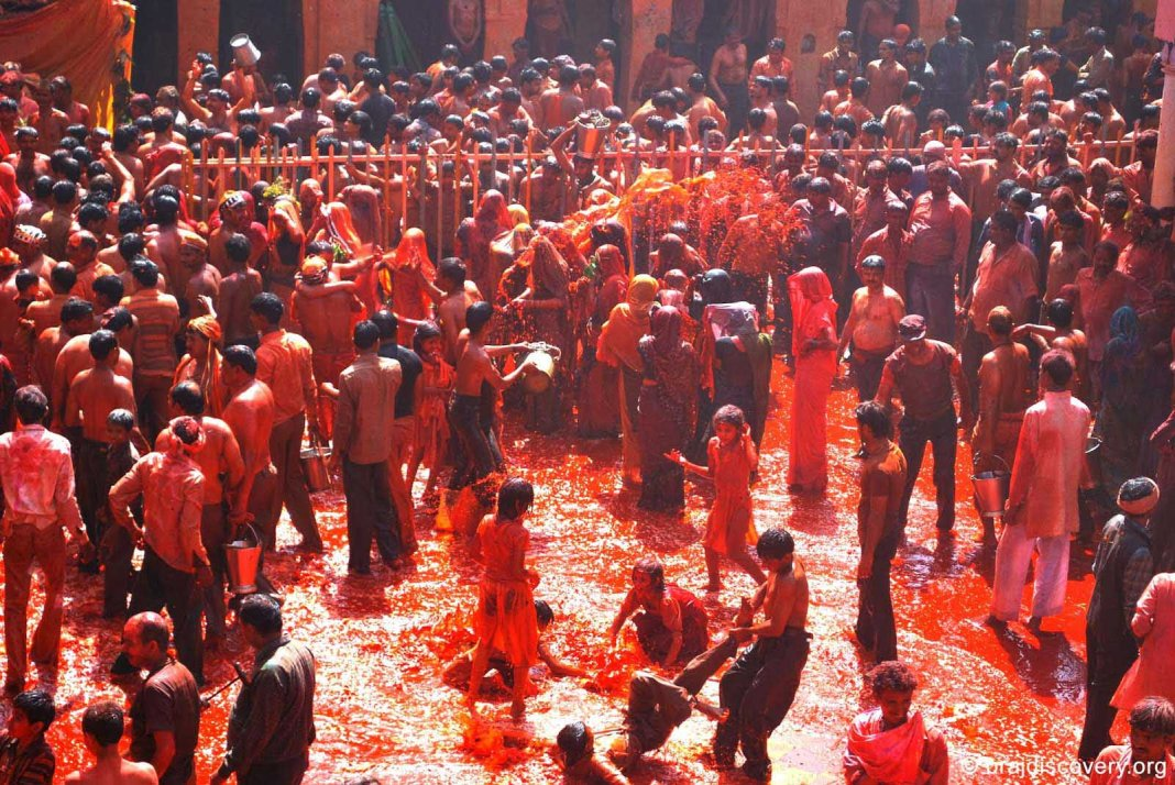 Lovely people playing with color in Holi festival