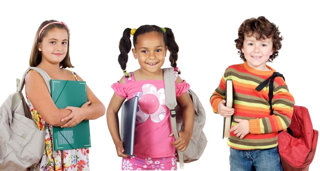 School kids with widescreen wallpaper