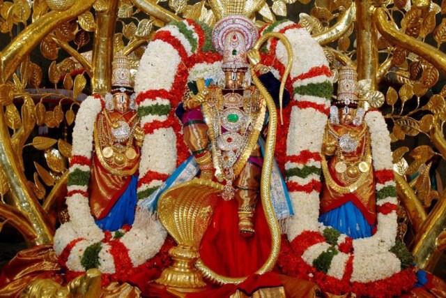 Beautiful shining statue of god Venkateswara