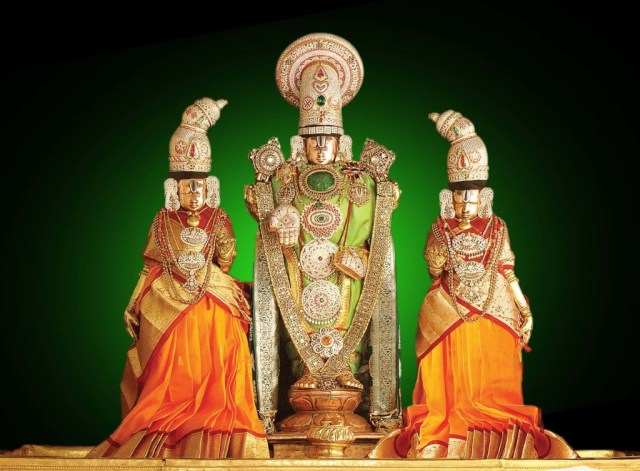 God Venkateswara decorated with beautiful dress