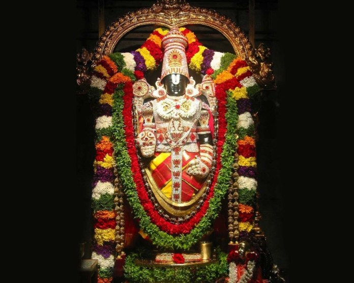 God Venkateswara Statue decorated with flowers