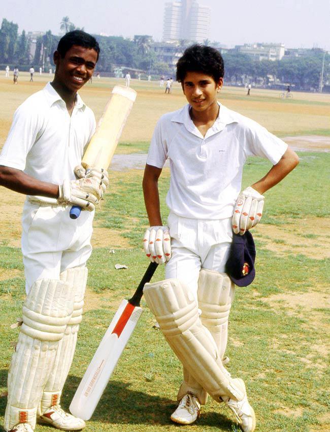 19. Sachin Tendulkar and Vinod Kambli during their childhood cricket days.