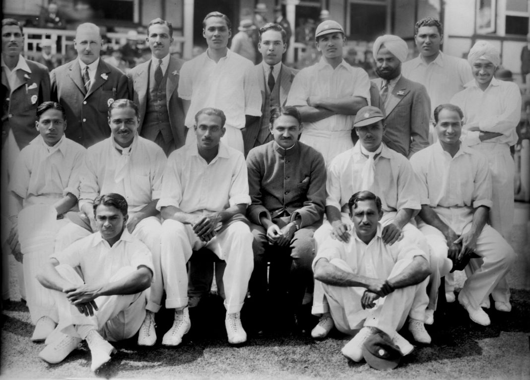 32.Group photo of India's first Test Cricket team on tour England, 1932.