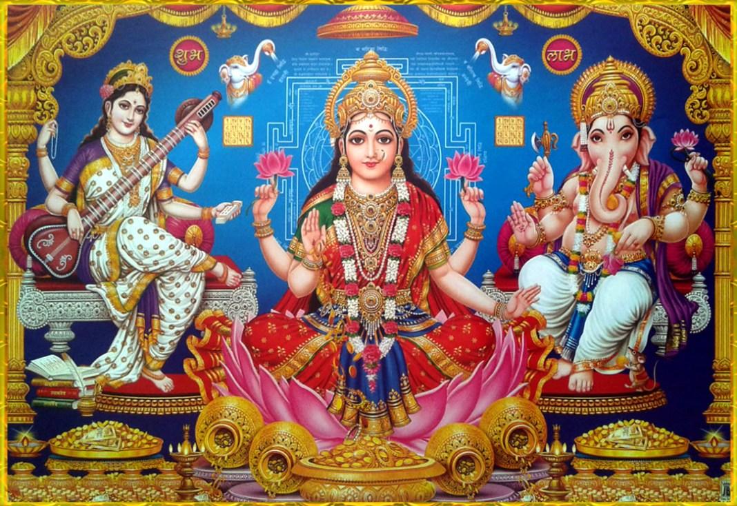 Diwali Shri Lakshmi Devi, Saraswati Devi, Ganesh