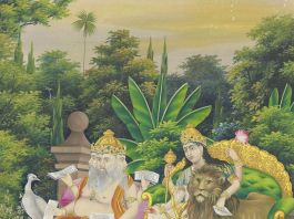 Durga and Brahma Seated