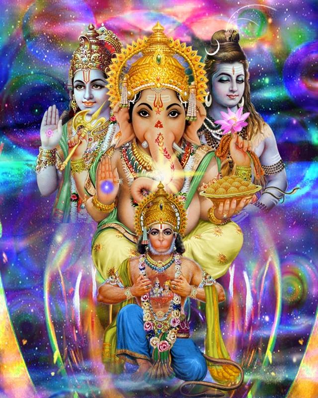 Ganesh, Rama, Shiva and Hanuman