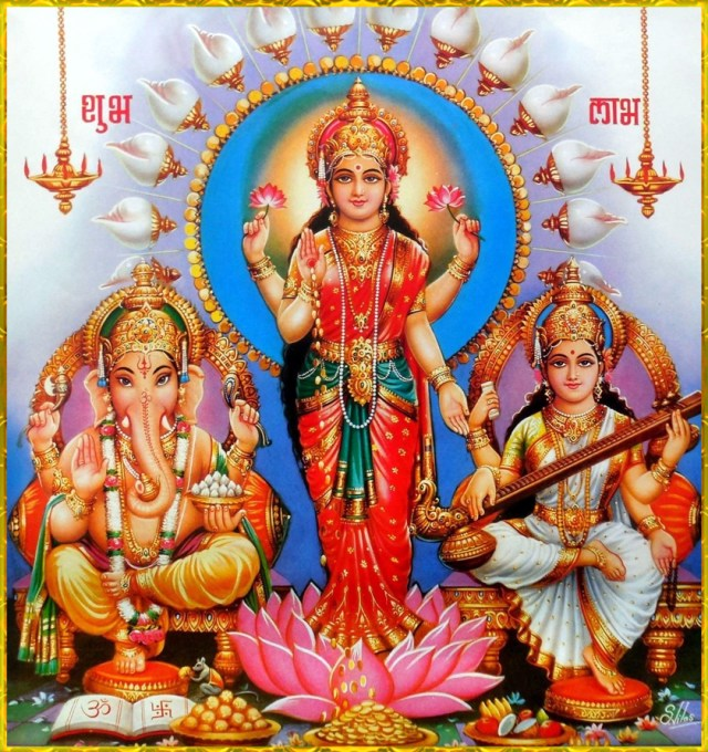 Lakshmi, Saraswati and Ganesha Image