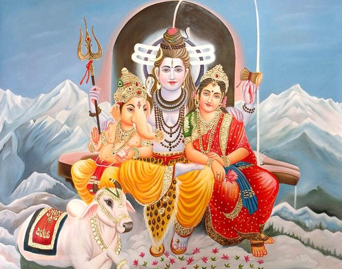 Lord Ganesh with Shiva, Parvathi Devi & Nandhi