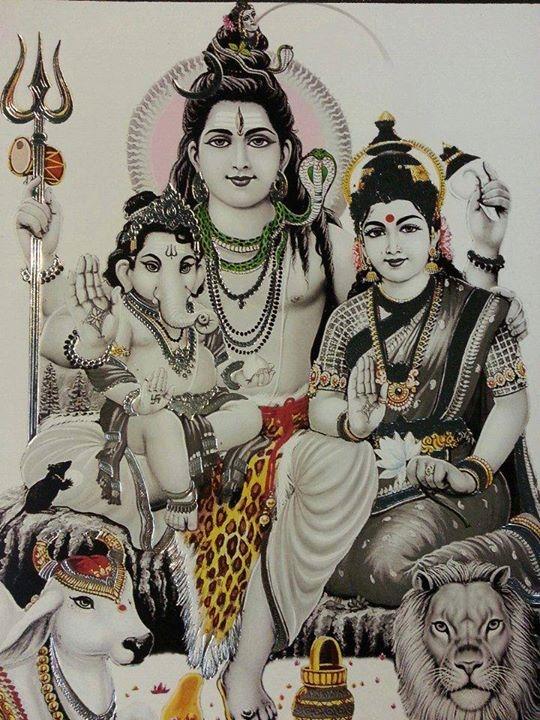Shiv Parvati And Little Ganapati
