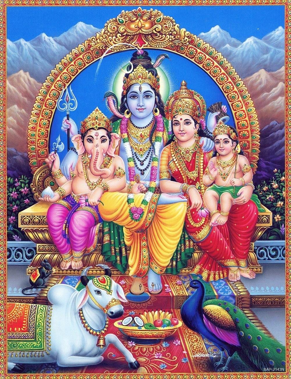 Lord Shiva with His Family Parvati, Ganesh, Murugan
