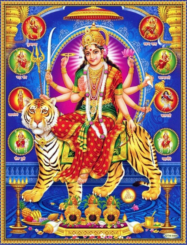 Durga Upon Her Tiger With Navdurga Offers a Blessing